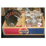 #2534 Pepsi Crate Lot incl. Cigarettes Mirror, Pepsi Cola Glasses, etc.