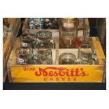 #2536 Nesbit Orange Drink Crate w/ A&W mugs, Richardson