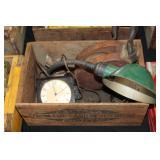 #2538 Calpack Fruit Crate incl. Antique Desk Light, West Clocks, Big Ben Clock & pully
