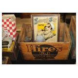 #2541 Hires RJ Root Beer crate incl. Ball jars, & Barnacle Bill ad. sign