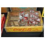 #2542 Coca Cola Crate lot Coca cola Glasses