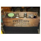 #2544 Eveready Batteries Crate incl. many jars, advertising bottles, etc.