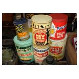 #2571 Lot of 4 advertising tins incl. Potato chips tin, pretzel rods, etc.