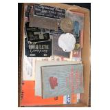#2576 Radio and telephone lot incl. books, paper, & tags