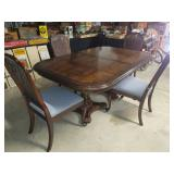 #2532 Fantastic Mixed Wood Dining Table w/ 4 chairs and 4 leafs