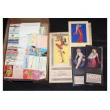 #2058 Large Pinup girl ad cards, incl. Boys…meet, Calendars, cutouts, etc.