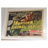 """#2073 1962 """"Invasion of the Animal People- Terror of the Blood Hunters""""  Movie Poster"""