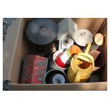 Box of bird feeders, bird houses, and plant pots, etc.
