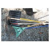 Garden Tools: Leaf rake, Garden rake, two hoes