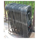 20 black folding chairs on rolling cart
