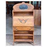 Oak Secretary w/ mirror and shelf
