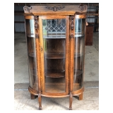 Antique China Curio Cabinet w/ Leaded Glass and Curved sideds
