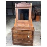 Eastlake 3 Drawer Dresser w/ Mirror- all original hardware Circa 1900