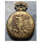 Pocket watch w/ hunting scene