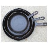 Large selection of cast iron pans incl. #8
