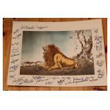 two types of Detroit lion prints w/ signatures