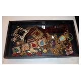 #9 Jewelry lot incl. Insects, Millifiori, Buckle, Amber, & a glass Buddha bracelet