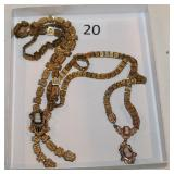 #20 Two Victorian Book Chain Necklaces- Gold filled w/ Cameo & 10K w/ Two Cameos