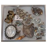 #21 Silver Victorian Jewelry - Two Lockets, Mosaic Earrings, Reverse Painted on Glass Pin,+