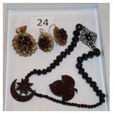 #24 Garnets, Victorian Pins, Victorian 14k Pendent & Earrings & Silver bead necklace