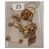 #25 Victorian Jewelry - 18K Garnet Flower pin, 12K Necklace, & 18K Bead & Pearl Necklace
