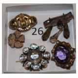 #26 Victorian Pins - Seed Pearl, Garnet, Amethyst, Smokey Quartz dangle pin, & 12K Foiled White +