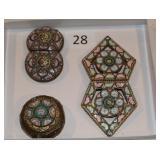#28 Mosaic topped pill box & two Mosaic belt buckles