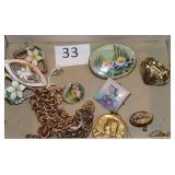 #33 Art Nouveau Jewelry - Two Gold Filled Padlock Bracelets, Joan of Arc Gold Filled Locket, Enamel