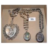 #36 Three Victorian Silver Lockets - Large Heart, Izpah, & Enamel Bird