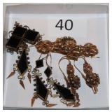 #40 Two Victorian Pin & Earing Set - Black & Gold Filled & 14K Key Motif
