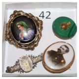 #42 Victorian Pins - 14K Portrait pin, 10K Lady Portrait, Gold & Malachite pin, & 14K Bird +