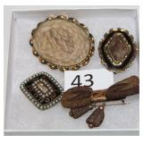 #43 Lot of Victorian Hair pins - Blonde Braid, Woven Bow, Gold & Enamel, Named & Dated in memory pin