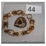 #44 Victorian 18K Chain Bracelet & 14K Heart Locket