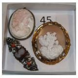 #45 Cameos - Victorian Gold Filled, Germany Silver, & Silver Framed Pink Shell