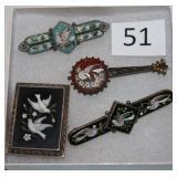 #51 Three Victorian Mosaic Pins & a Pietradura Locket pin