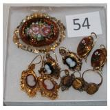 #54 Victorian Jewelry - Mosaic Pin & Earrings, Gold Filled Cameo Earrings, 14K Cameo Earrings, & 10K