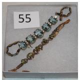 #55 Two Edwardian Bracelets - 14K Peridot & 8K with Aqua
