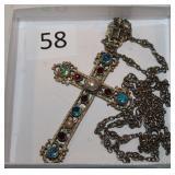 #58 Austro - Hungarian Silver & Enamel Cross with Opals, Emerald, Garnets, & Pearls