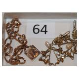 #64 14K Nouveau Earrings & 10K Rose Gold Padlock Bracelet