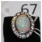 #67 Vintage 14K White Sapphire & Opal Ring