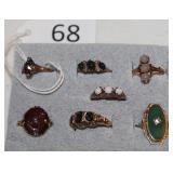 #68 10K Rings - Bloodstone, Green Garnets, Moonstone, Opals, Green Agate, & Carnelian Intaglio