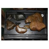 #355 Lot of carved stones incl. Bear, Buffalo, 2 Horses, Turtle, poss. Seal