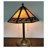 #260 Bradley & Hubbard Table Lamp with Stained Glass Shade