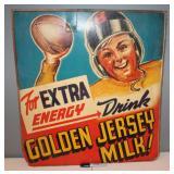 #424 Golden Jersey Milk vintage advertising - boy playing football