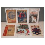 #487 (6) old baseball programs incl. Jackie Robinson rookie & second year, 1937 A