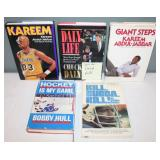 #489 (5) signed hardcover sports - (2) Kareem, Daly, B. Hull, & Bubba Smith