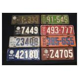 #915 Vintage License plates lot of 9 incl. 1915-20, 22-24