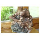 Bear family carved lamp