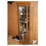 Narrow 4 shelf china curio cabinet