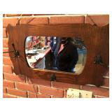 Oak mirror & hat rack
